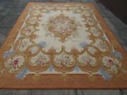 Vintage Hand Made French Design Wool Brown Gold Original Aubusson 311x242cm