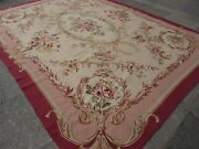 Vintage Hand Made French Design Wool Pink Original Large Aubusson 352x269cm