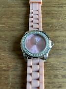 Ladies Avon Stone Encrusted Ss Watch With Pimk Silicone Straps W961/15