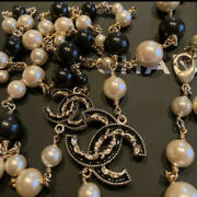 Necklace Long Gold Plated White Pearls And Black Beads Cc Logo B14v Auth