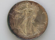1993 American Silver Eagle Uncirculated Dollar Bronze Toning U.s. Coin D7869