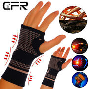 Copper Wrist Support Brace Compression Sleeve Arthritis Fit Carpal Tunnel Hand