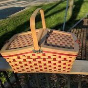 2006 Beautiful Longaberger Hostess Family Picnic Basket W/ Protector And Divider