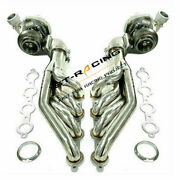 T66 Water Cold Turbos+pair Exhaust Manifold Headers For Ls1 Ls2 5.3l 5.7l 6.0l