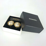 Earrings Coco Mark Fake Pearl Gp Round Gold 35mm 25.6g With Box