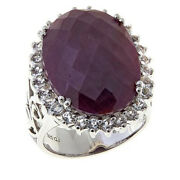 Hsn Colleen Lopez Indian Ruby And White Topaz Sterling Silver Ring Size 6 559