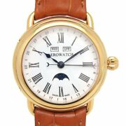 Aerowatch 1942 75970 Automatic Moon Phase Triple Calendar White Dial Gold Plate