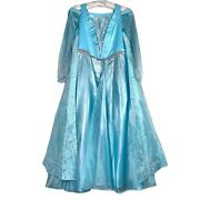Disney Store Elsa Frozen Dress With Cape Light Up Costume With Wand Size 8