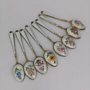 Set With 8 Mocha Spoon In Silver And Guilloche Enamel From Asprey And Co