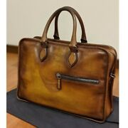 Berluti Unjour Menand039s Briefcase Tote Bag Brown Leather Very Good W/ Storage Bag