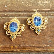 Coro Double Crown Brooch Pins Gold Tone 1 Blue Faceted Rhinestones Vintage 50s