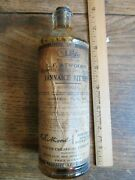 Antique Vintage Old Bitters Bottle With Label And Stopper