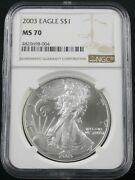 2003 American Silver Eagle Ngc Ms 70