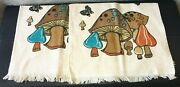 Lot Of 2 New Vintage 1970s Cannon Mushroom Teal Brown Kitchen Hand Towels