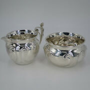 Antique Pair From Sugar Bowl And Milk Jug In Solid Silver