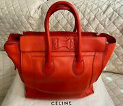 Celine Red Pebbled Calfskin Leather Mini Shoppers Luggage Tote Bag
