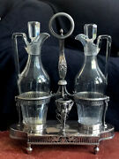 Late 18th/ Early 19th Century French Silver Large Two Bottle Oil And Vinegar Frame
