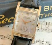 Gruen Precision 10k Gold-plated Square Antique Manual Watch Used 1930s Vintage