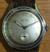 Gruen Precision Stainless 33mm Small Second Automatic Watch Used Vintage Antique