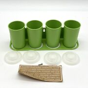 Vintage Tupperware Wall Spice Rack And Four Shaker Containers And Lids Green