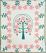 Well Quilted Rare Vintage 40and039s Mountain Mist Rose Tree Applique Antique Quilt