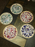 Five Italy Deruta Fima Rooster 7 1/4 Plates And Matching 4 Bowls Dif. Colors