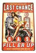 Last Chace Gas Station Pinup Girl Garage Tin Poster Sign Vintage Style Man Cave