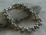 Milor Italy Sterling Silver Round Rolo Link Chain Bracelet  7 5/8  13.1 Grams