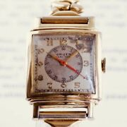 Gruen Doctor's Watch Veri-thin Square Manual Red Hand Vintage Antique 1940s Rare