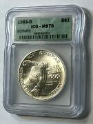 1983-d Olympics Discus Thrower 1 Icg Ms70 Silver Dollar - Very Rare