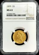 1899 Gold United States 5 Dollar Liberty Head Half Eagle Coin Ngc Mint State 63