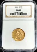 1901 S Gold United States 5 Dollar Liberty Head Half Eagle Ngc Mint State 64
