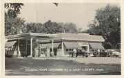 Rp West Liberty , Iowa , 1930-40s Crystal Cafe And Gas Station