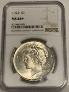 1922 Peace Dollar Silver Dollar Ngc Ms66+. Flashy White. Immaculate.ms67 =7000