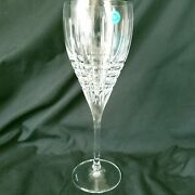 And Co Plaid Crystal Hand Cut Glass Wine Stem Italy W/box