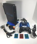 Ps2 Sony Playstation 2 Fat Black Console Stand Carry Bag Dual Shock Memory Cards