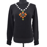 95a 40 Round Neck Cc Logos Long Sleeve Knit Tops Black Cashmere 91460