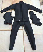 Vintage 1960s Uk10 Beavertail Zip Front 2 Piece Wetsuit W/ Hood And Boots