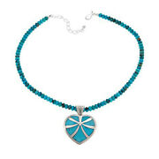 Hsn Jay King Reversible Turquoise Heart Pendant With Necklace 609