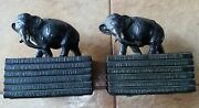 Little Leather Library Elephant Bookends Rare 1918 Antique