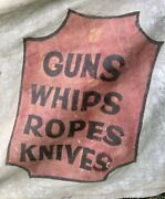 Antique Wild West Nevada Lawandrsquos Western Show Banner Circus Guns Knives 16ft