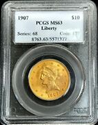 1907 Gold United States 10 Liberty Head Eagle Coin Pcgs Mint State 63 Pq