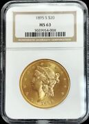 1895 S Gold United States 20 Liberty Head Double Eagle Coin Ngc Mint State 63