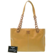 Authentic Plastic Chain Tote Bag Camel Leather 0164