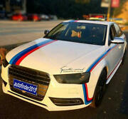 Tricolor Racing Stripe Car Sticker Decal For Audi Bmw Ford Vw Bonnet Roof Rear