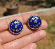 Old Vtg 14k Solid Gold Blue Enamel And Natural Diamond Cufflinks - Russian Heavy