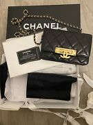Black Quilted Leather Gold Cc Chain Small Crossbody Bag. Rare And Unique