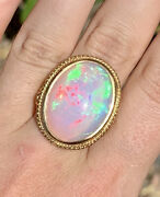 14.85 Ct Natural Ethiopian Fire Opal Welo 14k Solid Gold Victorian Ring 9.59g