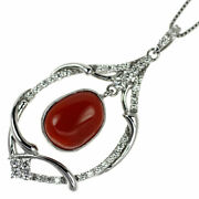 Brand New K18wg Blood Red Coral/coral Diamond Pendant Necklace D0.45ct Selby_jap