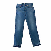 J Crew Blue Vintage Exposed Button Fly Straight Leg Frayed Hem Jeans Size 27